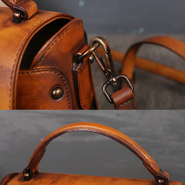 Vintage Women's Brown Leather Crossbody Satchel Purse Handbags for Women Fashion