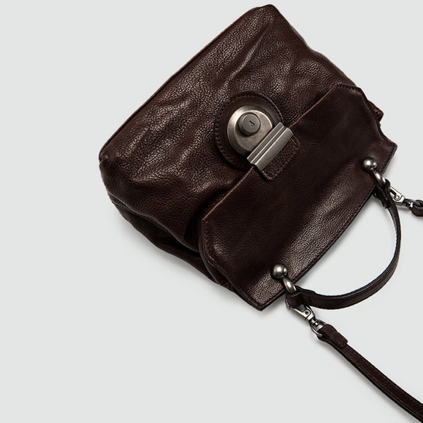 Vintage Women's Brown Leather Crossbody Satchel Purse Shoulder Bags for Women side