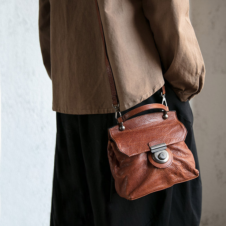 Vintage Women's Brown Leather Crossbody Satchel Purse Shoulder Bags for Women Accessories