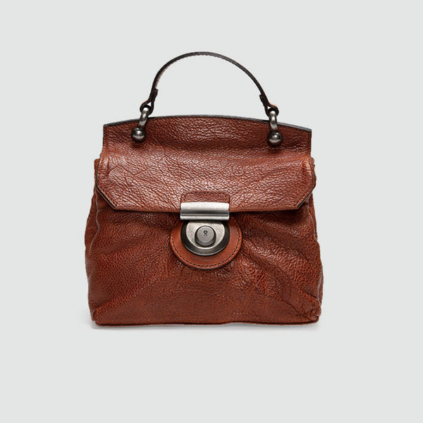 Vintage Women's Brown Leather Crossbody Satchel Purse Shoulder Bags for Women Chic