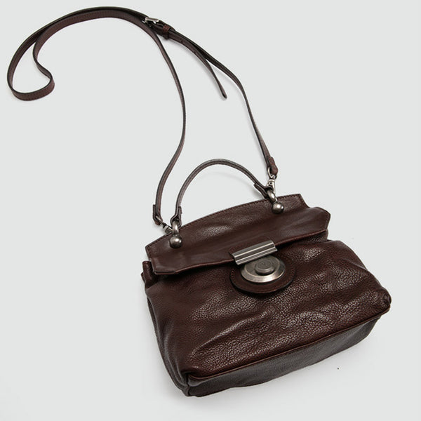 Vintage Women's Brown Leather Crossbody Satchel Purse Shoulder Bags for Women small