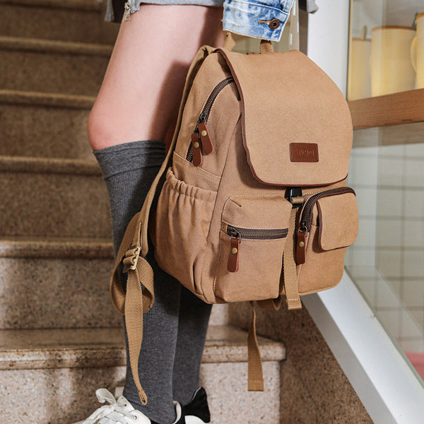 Vintage Women's Canvas And Leather Backpack Purse Rucksack With Pockets For Women Affordable