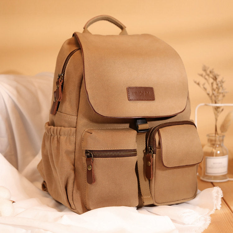Vintage Women's Canvas And Leather Backpack Purse Rucksack With Pockets For Women Accessories