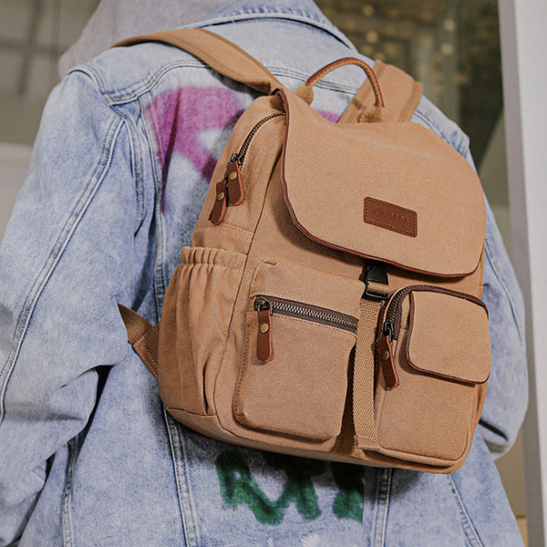 Vintage Women's Canvas And Leather Backpack Purse Rucksack With Pockets For Women Brown
