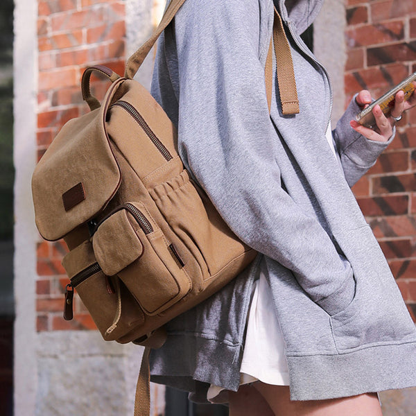 Vintage Women's Canvas And Leather Backpack Purse Rucksack With Pockets For Women Chic
