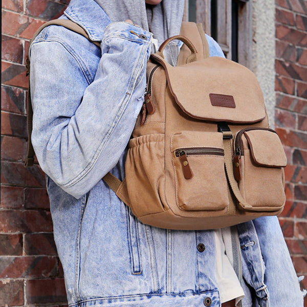Vintage Women's Canvas And Leather Backpack Purse Rucksack With Pockets For Women Cool