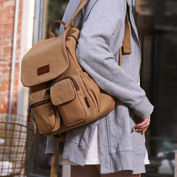 Vintage Women's Canvas And Leather Backpack Purse Rucksack With Pockets For Women Cute