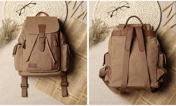 Medium Canvas Rucksack Trendy Zip Backpack Purse Laptop Backpacks for Women Cool