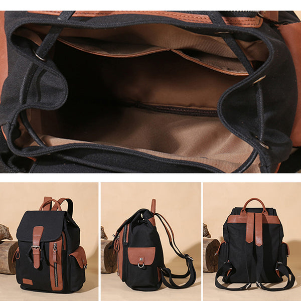 Vintage Women's Canvas Leather Drawstring Backpack Purse Canvas Rucksack for Women Details