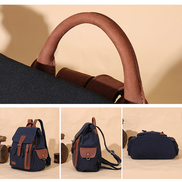 Vintage Women's Canvas Leather Drawstring Backpack Purse Canvas Rucksack for Women Durable