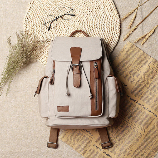 Vintage Women's Canvas Leather Drawstring Backpack Purse Canvas Rucksack for Women Funky