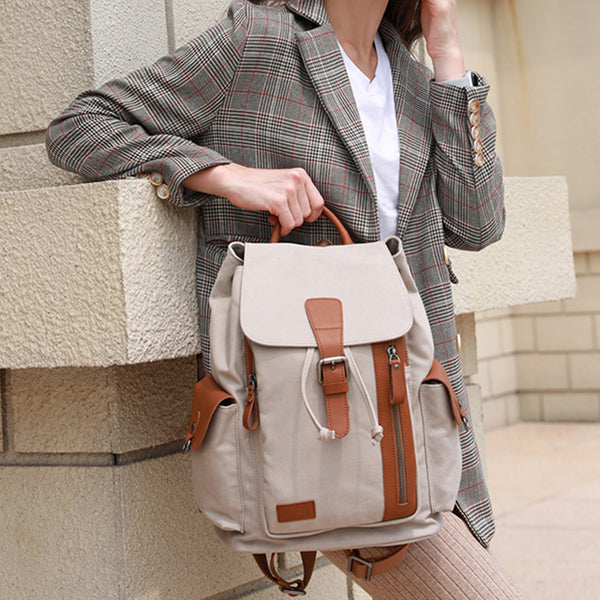 Vintage Women's Canvas Leather Drawstring Backpack Purse Canvas Rucksack for Women Handmade