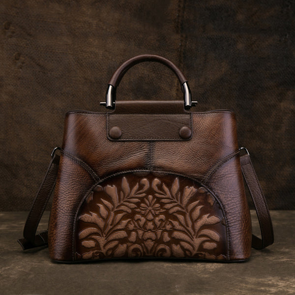Vintage Women's Embossed Genuine Leather Handbags Cross Shoulder Bag Purse For Women Brown