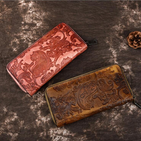 Vintage Women's Embossed Leather Clutch Wallet Purse Zip Around Wallet For Women Accessories