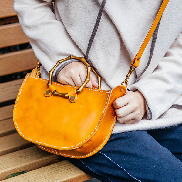 Vintage Women's Genuine Brown Leather Handbags Purse Cross Shoulder Bag for Ladies Accessories