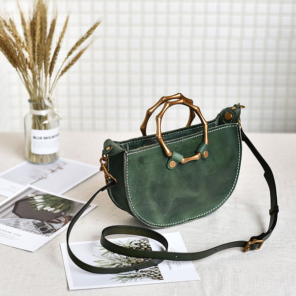 Vintage Women's Genuine Brown Leather Handbags Purse Cross Shoulder Bag for Ladies Details