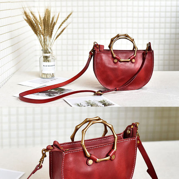 Vintage Women's Genuine Brown Leather Handbags Purse Cross Shoulder Bag for Ladies Handmade