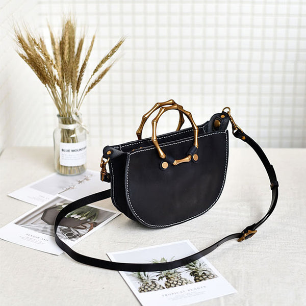 Vintage Women's Genuine Brown Leather Handbags Purse Cross Shoulder Bag for Ladies black