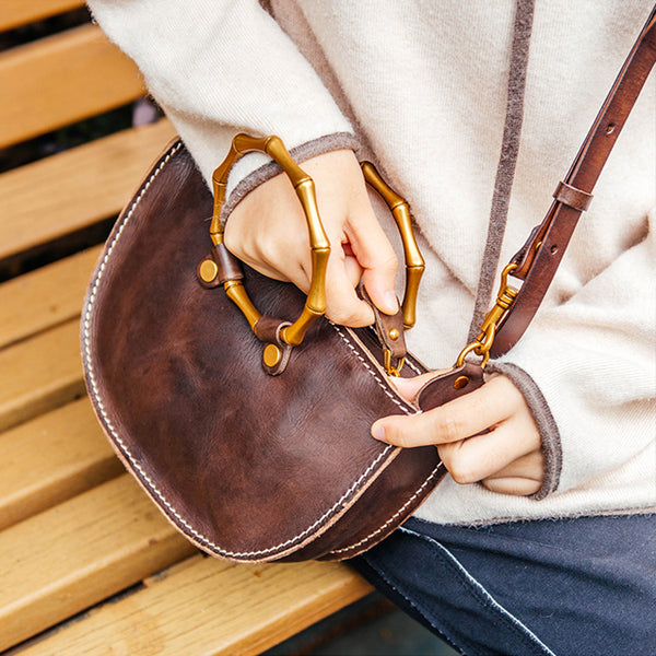 Vintage Women's Genuine Brown Leather Handbags Purse Cross Shoulder Bag for Ladies cool