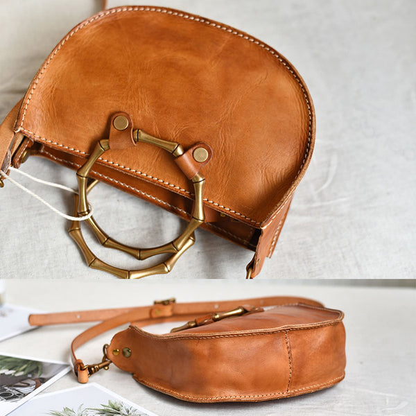 Vintage Women's Genuine Brown Leather Handbags Purse Cross Shoulder Bag for Ladies fashion