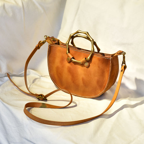 Vintage Women's Genuine Brown Leather Handbags Purse Cross Shoulder Bag