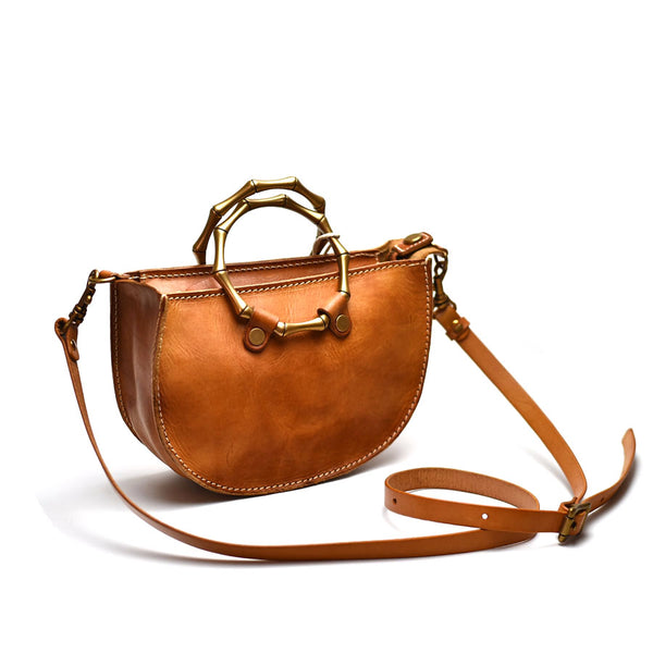 Vintage Women's Genuine Brown Leather Handbags Purse