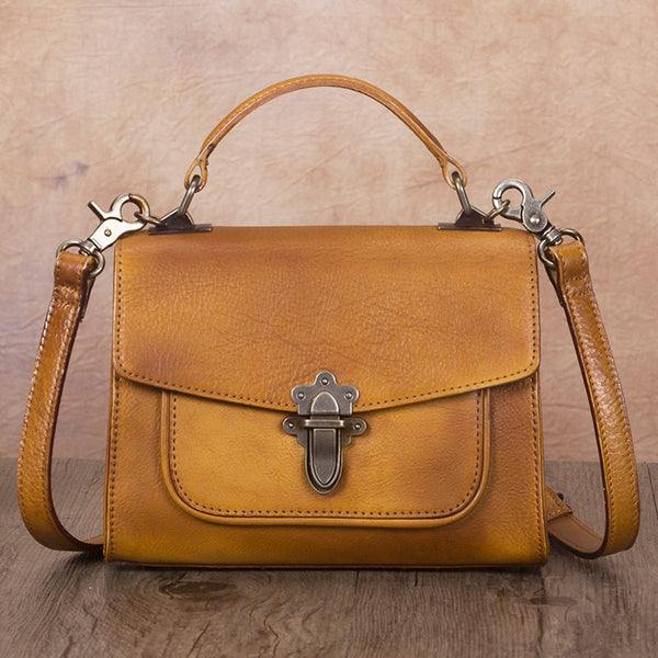 Vintage Women's Genuine Leather Crossbody Satchel Bag Handbags Purse for Women Affordable