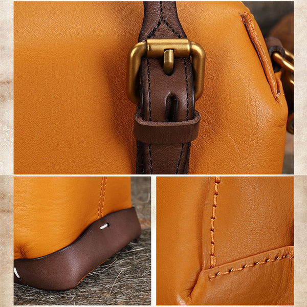 Vintage Women's Genuine Leather Handbags Crossbody Sling Bags Purse for Women Details