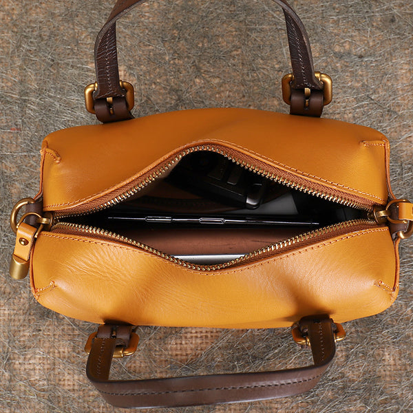 Vintage Women's Genuine Leather Handbags Crossbody Sling Bags Purse for Women Inside