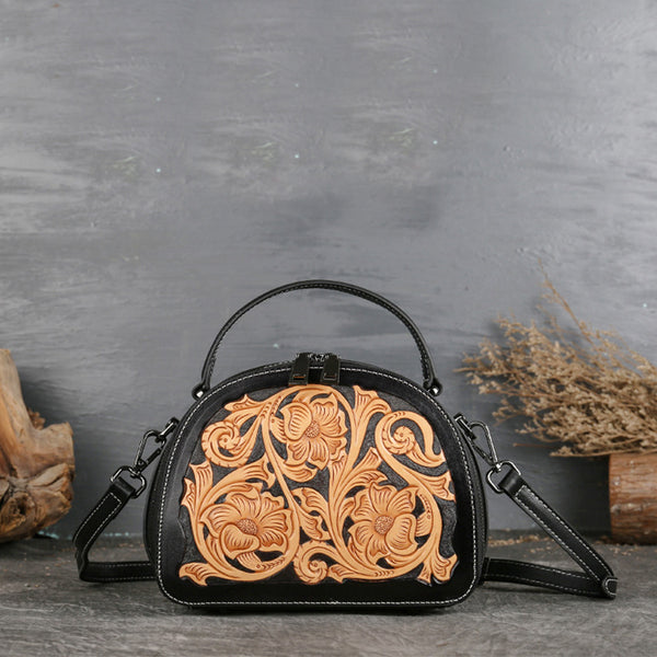 Vintage Women's Genuine Leather Handbags Leather Crossbody Bag Purse For Women Accessories