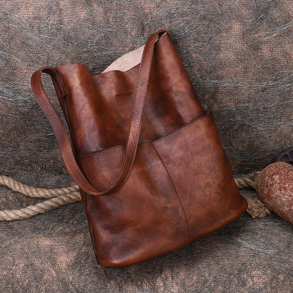 Vintage Women's Genuine Leather Tote Bag Handbags With Pockets for Women Accessories