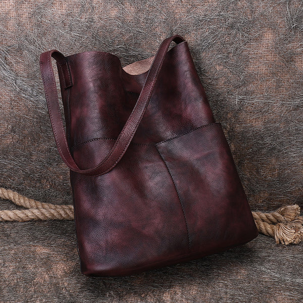 Vintage Women's Genuine Leather Tote Bag Handbags With Pockets for Women