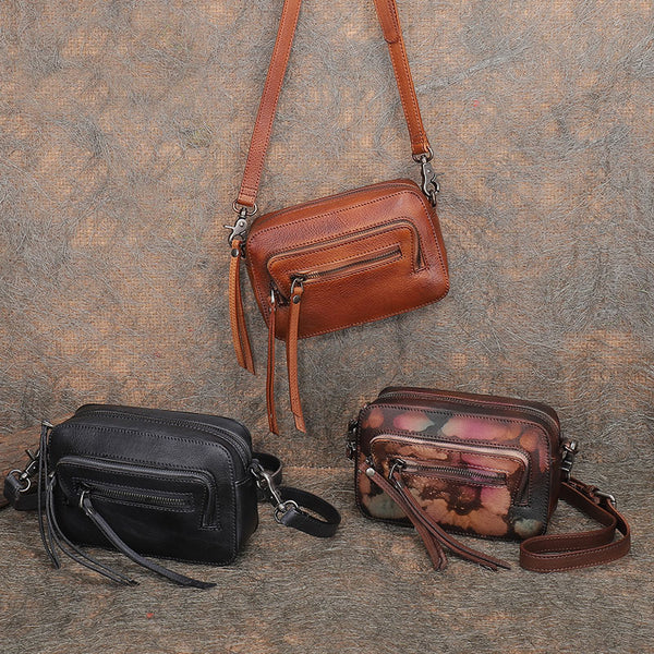 Vintage Women's Brown Leather Crossbody Sling Bag Small Purse for Ladies
