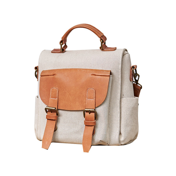 Vintage Women's Small Canvas and Leather Backpack Purse Shoulder Bags for Ladies Accessories