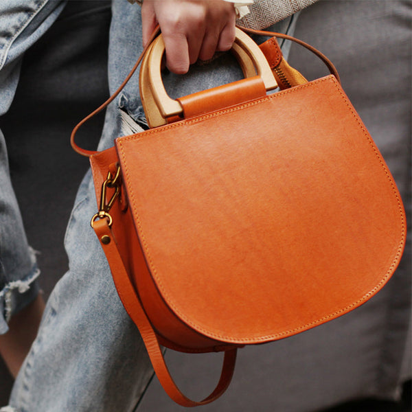 Vintage Women's Small Real Leather Crossbody Handbags Over the Shoulder Purse for Women Durable