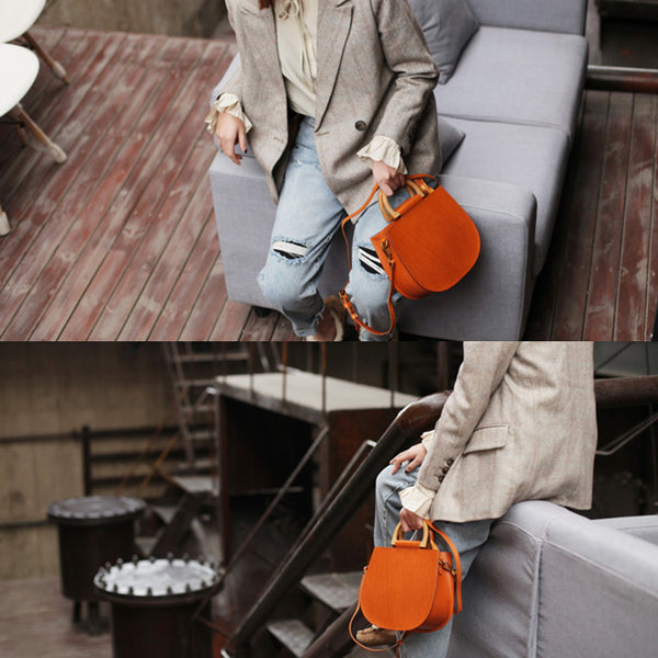 Vintage Women's Small Real Leather Crossbody Handbags Over the Shoulder Purse for Women Handmade