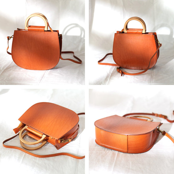 Vintage Women's Small Real Leather Crossbody Handbags Over the Shoulder Purse