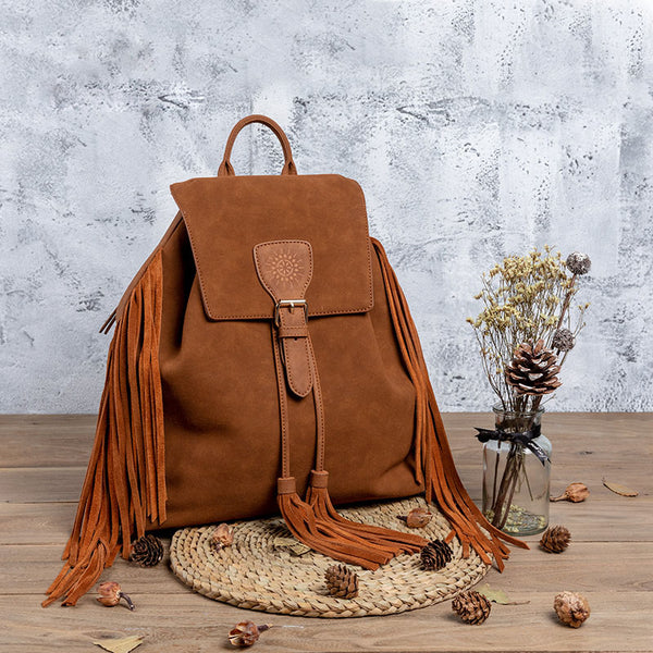 Vintage Womens Boho Faux Leather Backpack Purse with Suede Leather Fringe for Women Accessories