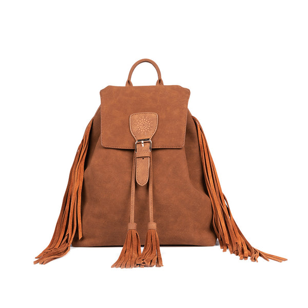 Vintage Womens Boho Faux Leather Backpack Purse with Suede Leather Fringe for Women Affordable