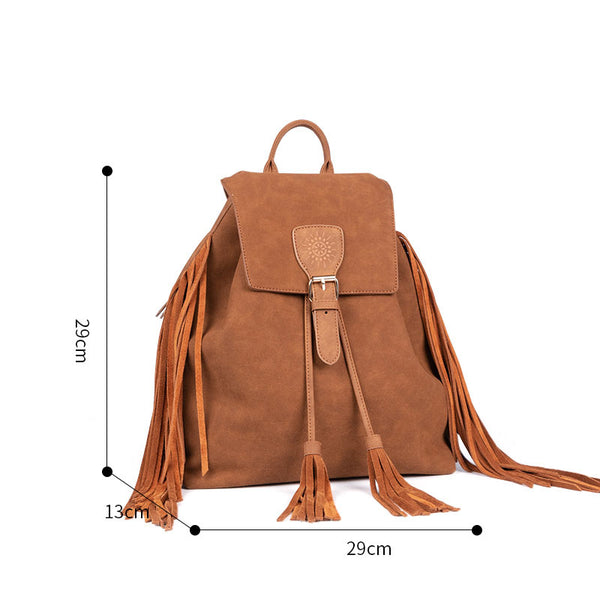 Vintage Womens Boho Faux Leather Backpack Purse with Suede Leather Fringe for Women Brown