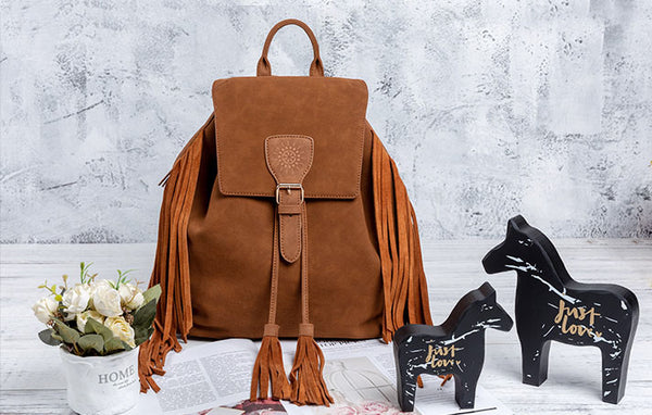 Vintage Womens Boho Faux Leather Backpack Purse with Suede Leather Fringe for Women Chic