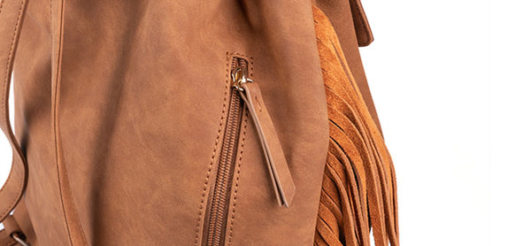 Vintage Womens Boho Faux Leather Backpack Purse with Suede Leather Fringe for Women Cute