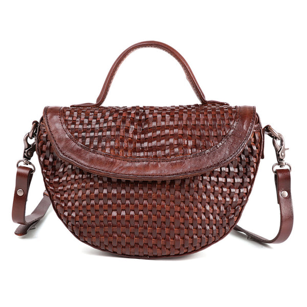 Vintage Womens Boho Leather Braided Satchel Bags Small Handbags Purse For Women Brown