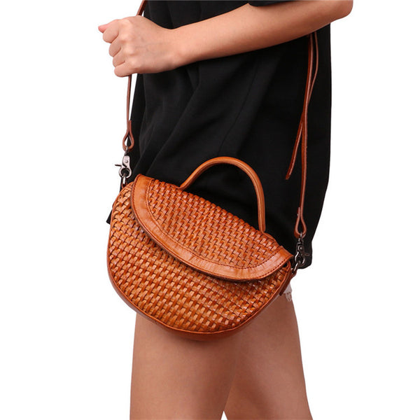 Vintage Womens Boho Leather Braided Satchel Bags Small Handbags Purse For Women Designer