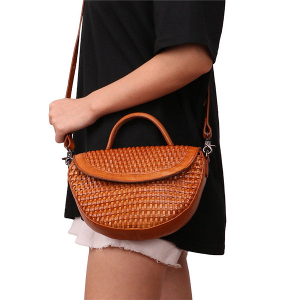 Vintage Womens Boho Leather Braided Satchel Bags Small Handbags Purse For Women Details