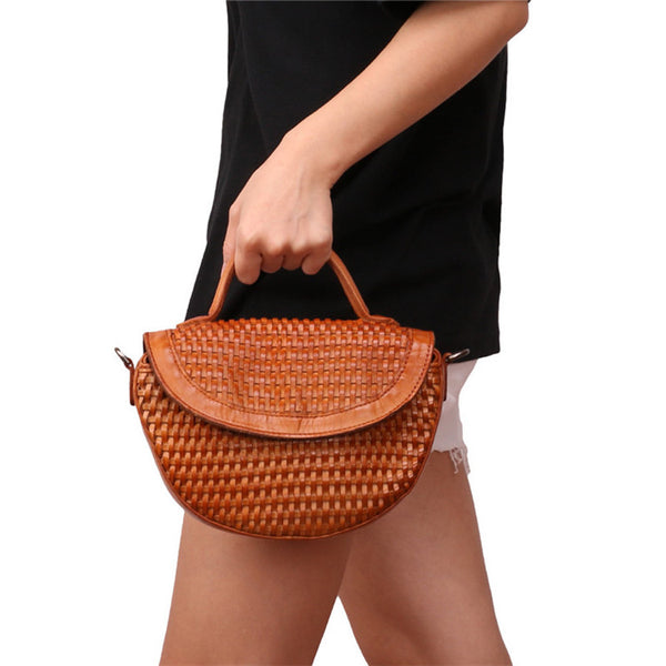 Vintage Womens Boho Leather Braided Satchel Bags Small Handbags Purse For Women Durable