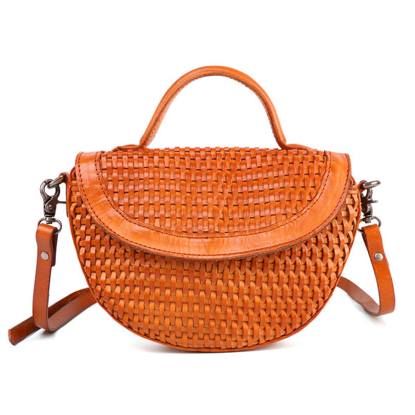 Vintage Womens Boho Leather Braided Satchel Bags Small Handbags Purse For Women Fashion
