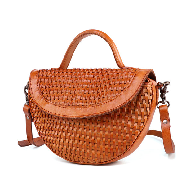 Vintage Womens Boho Leather Braided Satchel Bags Small Handbags Purse For Women Funky