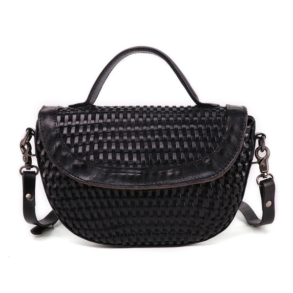 Vintage Womens Boho Leather Braided Satchel Bags Small Handbags Purse For Women