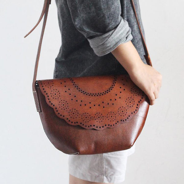 Western Womens Brown Leather Crossbody Satchel Bags Boho Purses for Womens